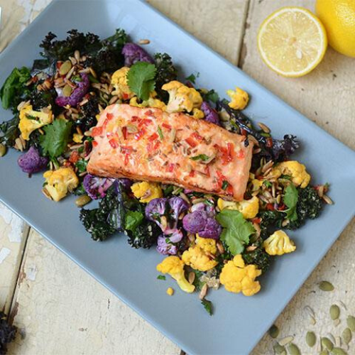 Torals's Indian spiced salmon with cumin & chili cauliflower, quinoa and kale salad